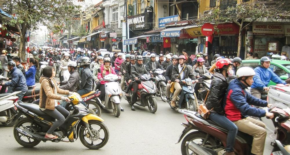 Cross the street in Hanoi
