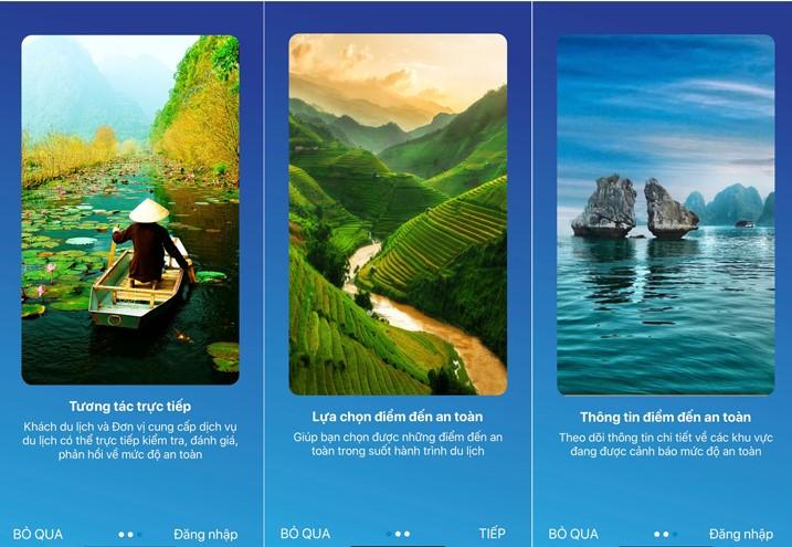 越南安全旅行应用程序的界面